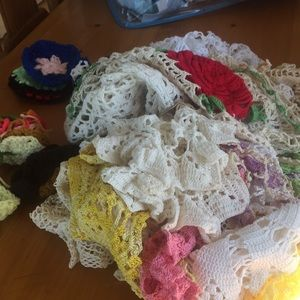 Doilies and crocheted lace grab bag